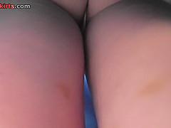 Hot g-string shot of chick's ass in upskirt video