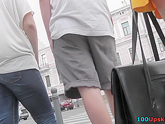Flabby ass of a hottie in upskirting porn video