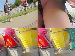 Hot upskirt video of a bubble-ass brunette  bitch