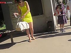 G-string upskirt footage of a gal wearing mini skirt