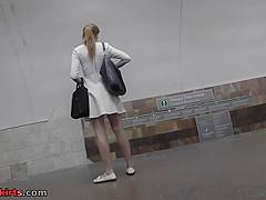 Best upskirt video of a blonde wearing a hot thong