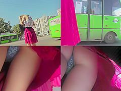 Hot thong shot of redhead's ass in upskirt video