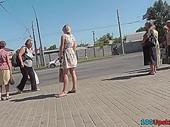 Hot skinny ass upskirt video of a blonde in public