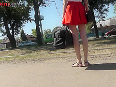 Red head girl wears classic pants in upskirting video