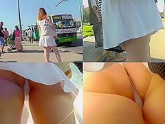 Flabby ass under a white skirt in upskirt mov