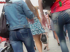 Hot upskirt porn with slim blonde in a public place