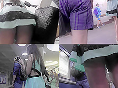 A-line skirt on a skinny bum in accidental upskirt vid