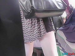 Hot g-string of a chick seen in free upskirt video