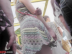 Slim girl with bubble ass stars in g-string upskirt vid