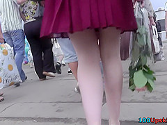 Hot upskirt porn with sexy brunette in a public place