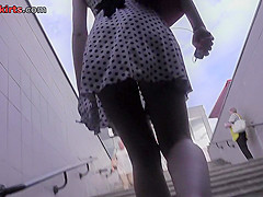 A-line skirt and g-string on gal in upskirt vid