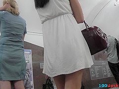 Sexy g-string of a bitch seen in free upskirt video