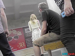 Accidental upskirt shot shows a skinny bum of a blonde