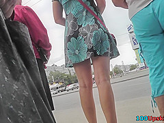 Skinny ass chick in sexy a-line skirt in upskirt vid
