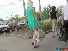 Upskirting video show amazing blonde and her nice legs
