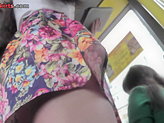A-line skirt on the flabby bum in accidental upskirt