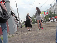 Best upskirt video of a brunette with a tiny g-string