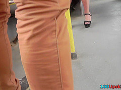 Beautiful a-line skirt on hottie in accidental upskirt