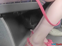 Hot upskirt porn with amateur redhead in a public place