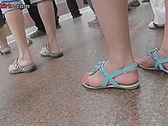 Skinny ass gal in candid upskirt vid, wearing g-string