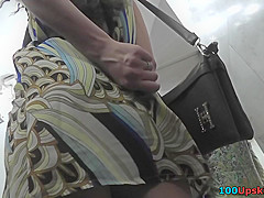 Skinny ass gal in candid upskirt vid, wearing g-string