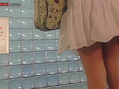 Breathtaking upskirt shot of bubble ass gal in g-string