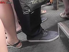 Hot flabby ass upskirt video of a lassie in public