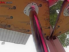 Hot g-string shot of hottie's butt in upskirt video