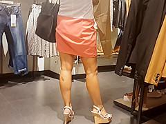 Sexy blond in pink skirt upskirt