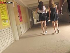 Auburn-hair gal wears a-line skirt in upskirt mov