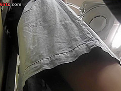 Mini skirt on bubble ass of a hottie in upskirt mov