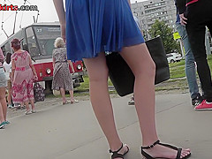 Chick wears a-line skirt and a g-string in upskirt mov