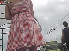 G-string upskirt shot of a sexy chick in the bus