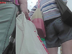 blonde wears a line skirt and a thong in upskirt mov