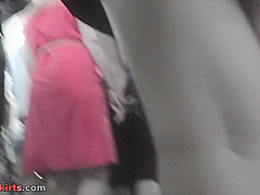 Blonde wears a-line skirt and a thong in upskirt mov