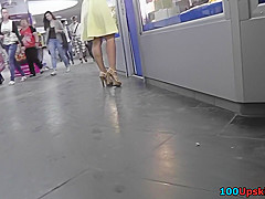 g string upskirt footage of a chick wearing mini skirt
