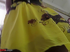 thong upskirt footage of a hot brunettes ass