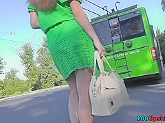 Hot upskirt porn with auburn-hair gal in a public place