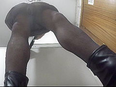 Upskirt of Mom in the kitchen with white panties