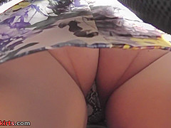 g string upskirt footage of a babe wearing mini skirt