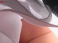 g string of a sexy lassie seen in free upskirt video