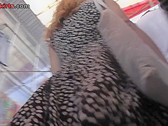 hot thong upskirt clip of an auburn haired lassie