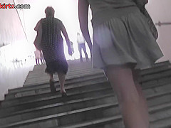 upskirt porn with a skinny ass gal in a public place