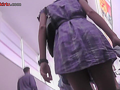 upskirt footage of skinny ass of girl in g string