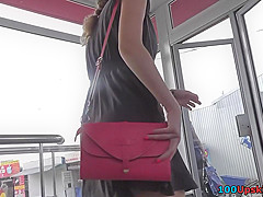 G-string on sexy chick's ass in real upskirt vid