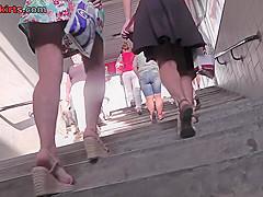 Thong upskirt footage of a chick wearing hot mini skirt