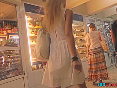 Mouthwatering ass of a blonde in best upskirts mov