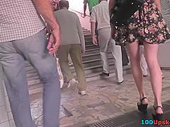 Voyeur upskirt vid of a super-hot brunette's ass
