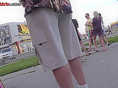 Funny panties of sexy chick seen in free upskirt video