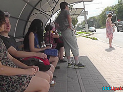 hot skinny ass upskirt video of a brunette in public